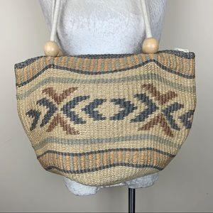 Vintage Bags - Vintage Woven Sisal Jute Bag - Handmade OOAK